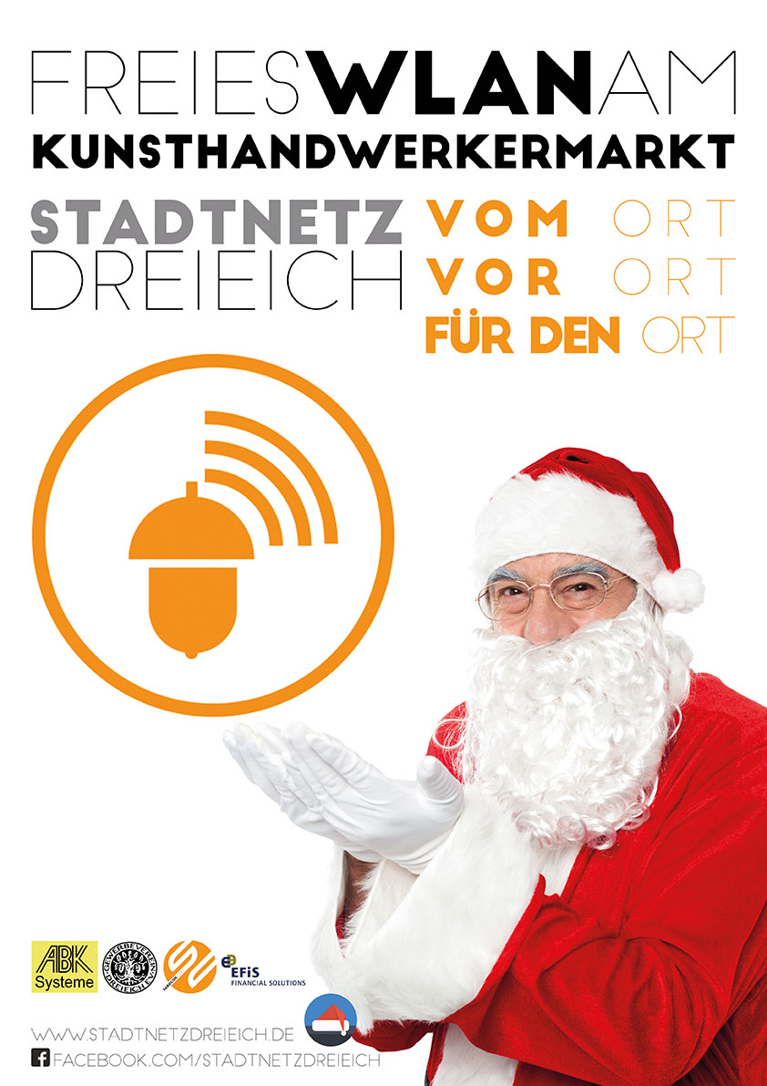 Freies WLAN auf dem Kunsthandwerkermarkt der Hayner Weihnacht. www.stadtnetzdreieich.de